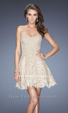391a748ce6 2014 Stunning Nude Short Lace Prom Dress by La Femme 19160