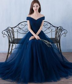 Simple A-line dark blue tulle long prom for teens, blue bridesmaid dress More