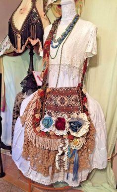 handmade fabric cross body carpet bag purse gypsy crochet hippie bohemian fringe