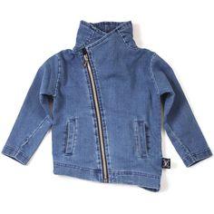 French Terry Biker Jacket in Denim by Nununu - Junior Edition  - 1