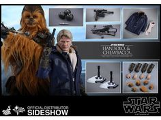 Han Solo & Chewbacca Star Wars Episode VII Movie Masterpiece 1/6 Scale Figure By Hot Toys