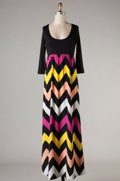 Mckenzie Chevron Maxi Dress