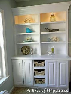 """So today is the day that I get to show you the """"Family Room"""" Makeover. I have been working on this room for a few weeks now. Living Room Built Ins, Living Room Shelves, Coastal Family Rooms, Fireplace Built Ins, House Of Turquoise, Built In Bookcase, Built In Cabinets, Home Projects, Home Remodeling"""