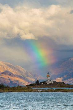 Isle of Ornsay Lighthouse with a rainbow, Scotland