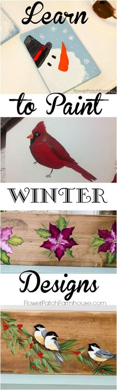 Learn how to Paint Easy Winter Designs. Paint custom gifts, create gift wrap from plain ol craft paper, or paint for the pure pleasure of it. FlowerPatchFarmhouse.com