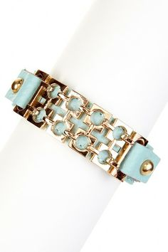 Mint & Gold Square Mesh Chain Leather Bracelet