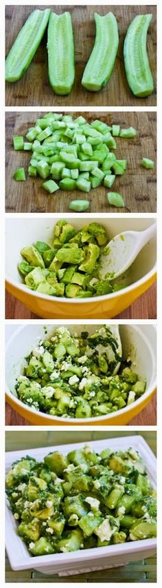 Cucumber and Avocado Salad Recipe with Lime, Mint, and Feta