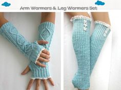 Arm Warmers and Leg Warmers Set in Mint Blue. by knitwit321