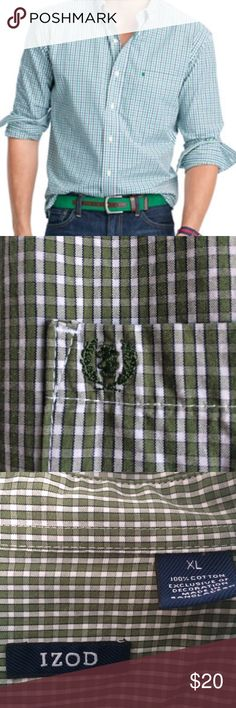 Men's Izod Button Down Men's Izod button down shirt in green/navy/white gingham check. 100% cotton. Worn once, in EUC. Looks awesome with dress pants, but also with jeans, or khaki shorts! Izod Shirts Casual Button Down Shirts