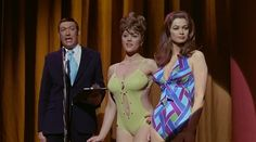 Bernard Bresslaw, Margaret Nolan and Valerie Leon. Carry On Girls. 1973
