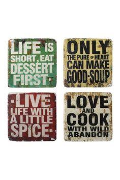 Found it at Joss & Main - 4 Pieces Resin Coaster Set Kitchen Quotes, Kitchen Signs, Kitchen Decor, Kitchen Ideas, Kitchen Art, Decor Crafts, Diy Home Decor, Wood Crafts, Live Love Life
