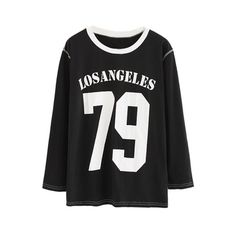 Los Angeles Number 79 Sweatshirt OASAP.COM ($7.39) ❤ liked on Polyvore featuring tops, hoodies, sweatshirts, oasap, henley tops, print top, henley sweatshirt, women tops and long sleeve sweatshirt