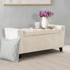 Gracefully designed, the Collins Velvet Armed Indoor Storage Bench lends chic style to your home with its ivory-colored velvet upholstery and tufted. Indoor Storage Bench, Storage Ottoman Bench, Bench With Storage, Upholstered Bench, Storage Area, Living Room Furniture Sale, Foyer Furniture, Studio Furniture, Furniture Ideas