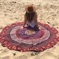Rugs – Multi Color Cotton Fabric Tapestry Hippie Mandala  – a unique product by IndianCraftPalace on DaWanda