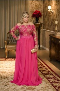 Plus Size Chiffon Prom Dresses With Appliques, Long Evening Dress, Formal Gown on Luulla Plus Size Gowns Formal, Formal Dresses With Sleeves, Long Sleeve Evening Dresses, Evening Dresses Plus Size, Gowns With Sleeves, Formal Evening Dresses, Formal Gowns, Plus Size Dresses, Dress Formal