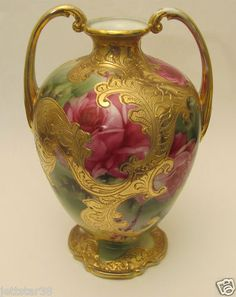 Excellent HP Large Antique Nippon Roses Vase Heavy Gold Decoration No Reserve | eBay