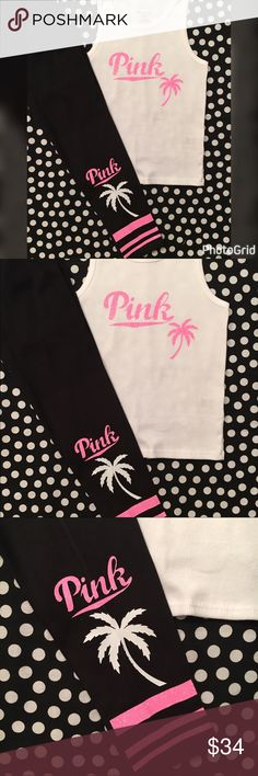Girls pink bling tank top legging set Toddler girls white ribbed tank top with pink glitter graphics palm tree glitter graphics on ankle quality apparel made with commercial HTV handmade item Sz 5T Matching Sets