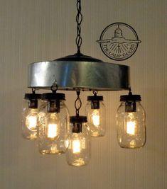 Mason Jar CHANDELIER Light Fixture with Chicken Wire