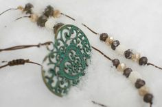 Romantic vintage necklace. Czech crystals and lava beads