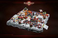 Terran Dominion & Zerg bases from StarCraft II in microscale LEGO