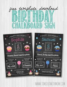 FREE DOWNLOAD: Birthday Chalkboard Sign Template and Tutorial www.timeoutwithmom.com