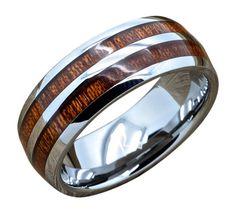 Men's Tungsten Ring with Double Row Hawaiian Koa Wood