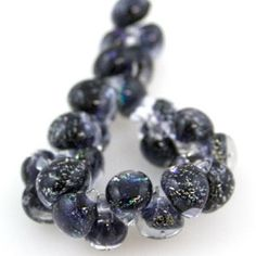 10 Teardrop Beads  Glitter  Amethyst Abyss by TheIndigoRaven, $6.75