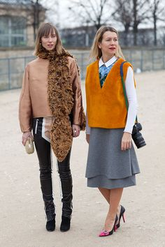 Anya and Natalie employ playful hits of colorful fur.   - HarpersBAZAAR.com