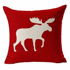 """Dreamcolor 18 X 18"""" Cotton Linen Nordic Series Red Elk Pattern Decorative Throw Pillow Covers Pillowcases(ABZ015-5) Dreamcolor http://www.amazon.com/dp/B00UVBW1LY/ref=cm_sw_r_pi_dp_Ufjmwb0FCWCQ0"""