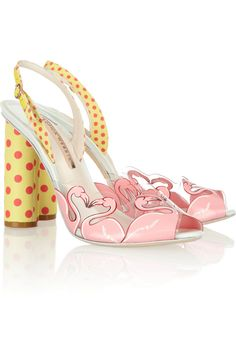 Today's So Shoe Me is the Flamingo Printed Vinyl Sandals by Sophia Webster, $445, available at Net-a-Porter. A fanciful flock of flamingos adds a whimsical heart shaped print to these summer ready vinyl sandals.