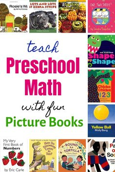 Preschool Math is so much fun and so simple to teach! All your preschoolers really needs to know is that numbers represent something concrete, and you can easily teach that in a FUN way -- in just a few minutes a day -- with picture books! Preschool Books, Preschool At Home, Toddler Preschool, Math Books, Library Books, Teaching Shapes, Teaching Math, Teaching Tips, Fun Math