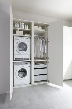 50 Beautiful and Functional Laundry Room Design Ideas Laundry room decor Small laundry room ideas Laundry room makeover Laundry room cabinets Laundry room shelves Laundry closet ideas Pedestals Stairs Shape Renters Boiler Laundry Cupboard, Utility Cupboard, Laundry Room Cabinets, Laundry Closet, Laundry Room Organization, Laundry Storage, Laundry In Bathroom, Wall Cabinets, Laundry Tips