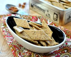 Easy Almond Crackers, crisp, peppery gluten-free crackers made with almond meal, also pecan meal, flax meal. Whole30, vegan. #LowCarb. For Weight Watchers, just #PP2.