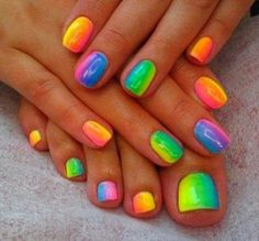 Cute Rainbow nails ♡♡♡☆