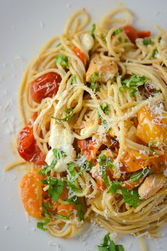 Recipe For Roasted Tomato Chicken and Mozzarella Pasta - For a lighter take on pasta, try this whole grain pasta dish with roasted tomatoes, chicken and mozzarella.