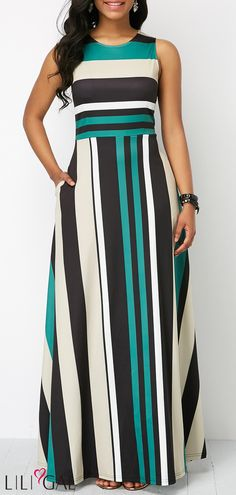 Long Maxi Dresses Stripe Print Pocket Zipper Back Sleeveless Maxi Dress Trendy Dresses, Women's Fashion Dresses, Sexy Dresses, Casual Dresses, Fashion Clothes, Casual Clothes, Trendy Outfits, Trendy Fashion, Striped Maxi Dresses