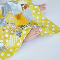 Lightweight Summer Cotton Baby Girl Blanket, Yellow Patchwork. $25.00 USD, via Etsy.