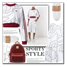 """""""Feminine Sporty"""" by littlefeather1 ❤ liked on Polyvore featuring Valentino, adidas Originals, MCM, topsets and polyvoreeditorial"""