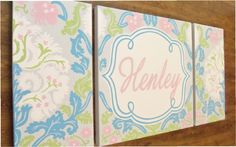 large nursery art- personalized triptych- name monogram initials- hand painted- M2M decor- blue pink damask. $225.00, via Etsy.