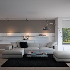 Cool Design Ideas Of White And Gray Living Room : Fantastic Decorating Ideas Using Rectangular White