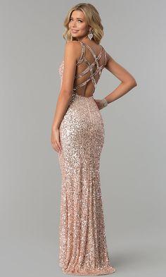 Open-Back Long Metallic Sequin Prom Dress - PromGirl Prom Dresses Long Open Back, Prom Dresses Under 200, Sparkly Prom Dresses, Fitted Prom Dresses, Girls Formal Dresses, Dress Long, Rose Gold Dresses, Senior Prom Dresses, Dresses Dresses