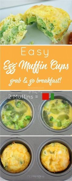 These easy egg muffin cups are full of protein and veggies and you can prep ahead on the weekend. A great 21 Day Fix friendly breakfast!