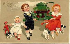 """"""" Bring On The Punch """" Vintage 1910 Happy New Year Post Card. Published by Paul Finkenrath of Berlin, Germany for     series # 9394 with a DB-USD-PM 1910 and in Excellent condition. Karodens Vintage Post cards. Berlin, Germany"""