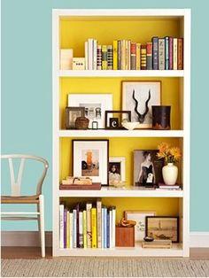 Paint the inside of the bookshelf