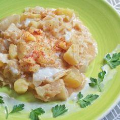 Vegán kelkáposzta főzelék Potato Salad, Potatoes, Ethnic Recipes, Food, Potato, Essen, Yemek, Meals