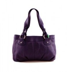 Designer Inspired GENUINE LEATHER Compartment Medium Tote Purse Handbag Purple