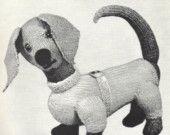 VINTAGE KNITTING PATTERN TOY DACHSHUND SAUSAGE DOG  PDF. $3.50, via Etsy.
