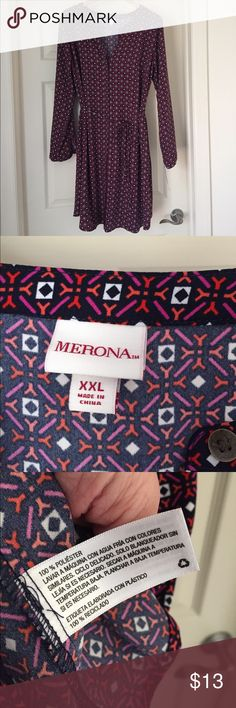 """Merona shirt dress Navy, ivory, hot pink and coral print. Buttons go the length of the dress. Pockets! Tie belt. Goes just above my knee (I'm 5'8""""). With tags, never worn. Merona Dresses"""