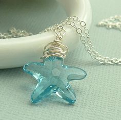 Day 10: Items w/ Swarovski Crystals. // Beautiful aquamarine Swarovski star fish crystal pendant.