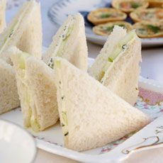 Cucumber Sandwiches: No tea party is complete without cucumber sandwiches, and they adapt well to either white or whole wheat bread. Cream cheese and every so thinly-sliced cucumbers. Sprinkle with Chef Prudhomme's Veggie Magic or paprika and salt. If holding the sandwiches for awhile, thinly butter the side of the bread with no cream cheese to keep from becoming soggy.
